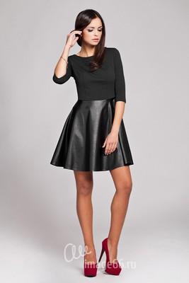 Кожаная юбка-полусолнце
