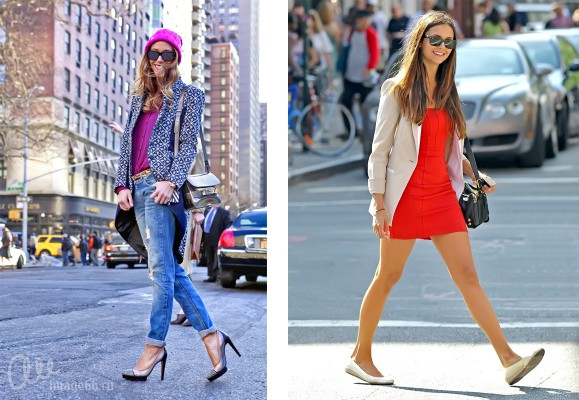 Девушки на прогулке в туфлях и балетках