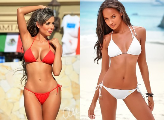 Девушки в красном и белом бикини