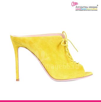 Желтые туфли мюли на высоком каблуке