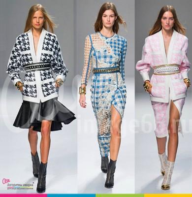Девушки модели на подиуме демонстрируют наряды с красивыми поясами