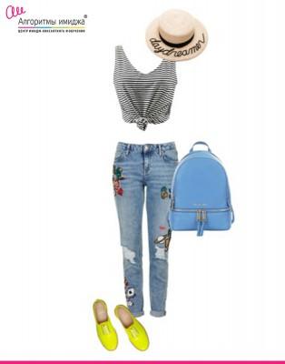 Тельняшка, джинсы, шляпка, рюкзак, кросовки