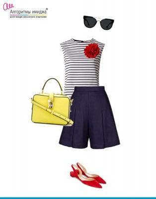 Тельняшка, солнцезащитные очки, шорты, сумка, балетки