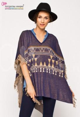 Девушка в пончо с орнаментом и шляпе