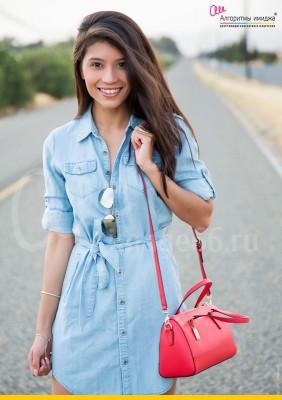 Девушка брюнетка в голубом платье-рубашка и с розовой сумочкой