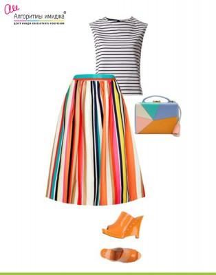 Тельняшка, юбка, туфли, сумочка