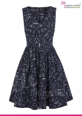 Черное платье с узором с пышной юбкой