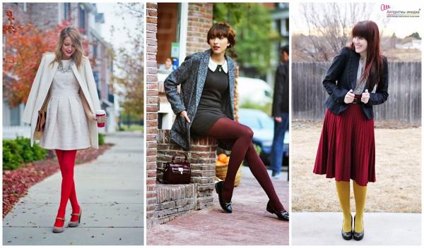 Три образа девушек с цветными колготами и юбками