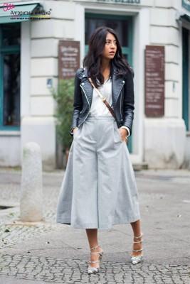 Девушка в серых широких брюках-кюлотах