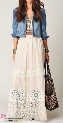 Девушка в длиной юбке в стиле бохо