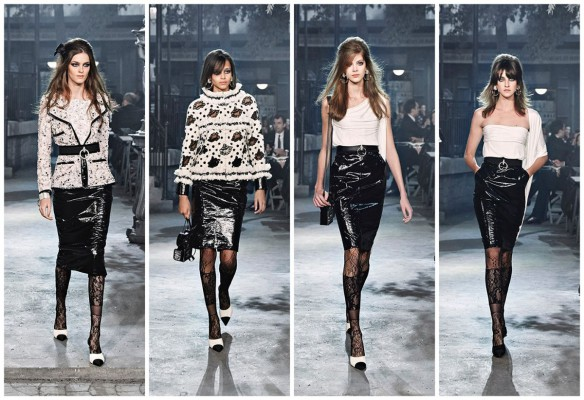 Девушки в кожаных лакированных юбках
