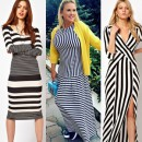 Девушки в платьях разной полоски